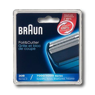 Braun Series 3 Combi 30b Foil And Cutter Replacement Pack (7000/4000 Series) by Braun. $12.79. Amazon.com Product Description      Braun replacement foil & cutter blocks help to maintain your shaver's maximum performance. Braun recommends changing your shaver's blades every 18 months as the cutting parts will gradually wear out over time, and your shave may become less close and comfortable. After replacing them you get back 100% of your shaver's performance...