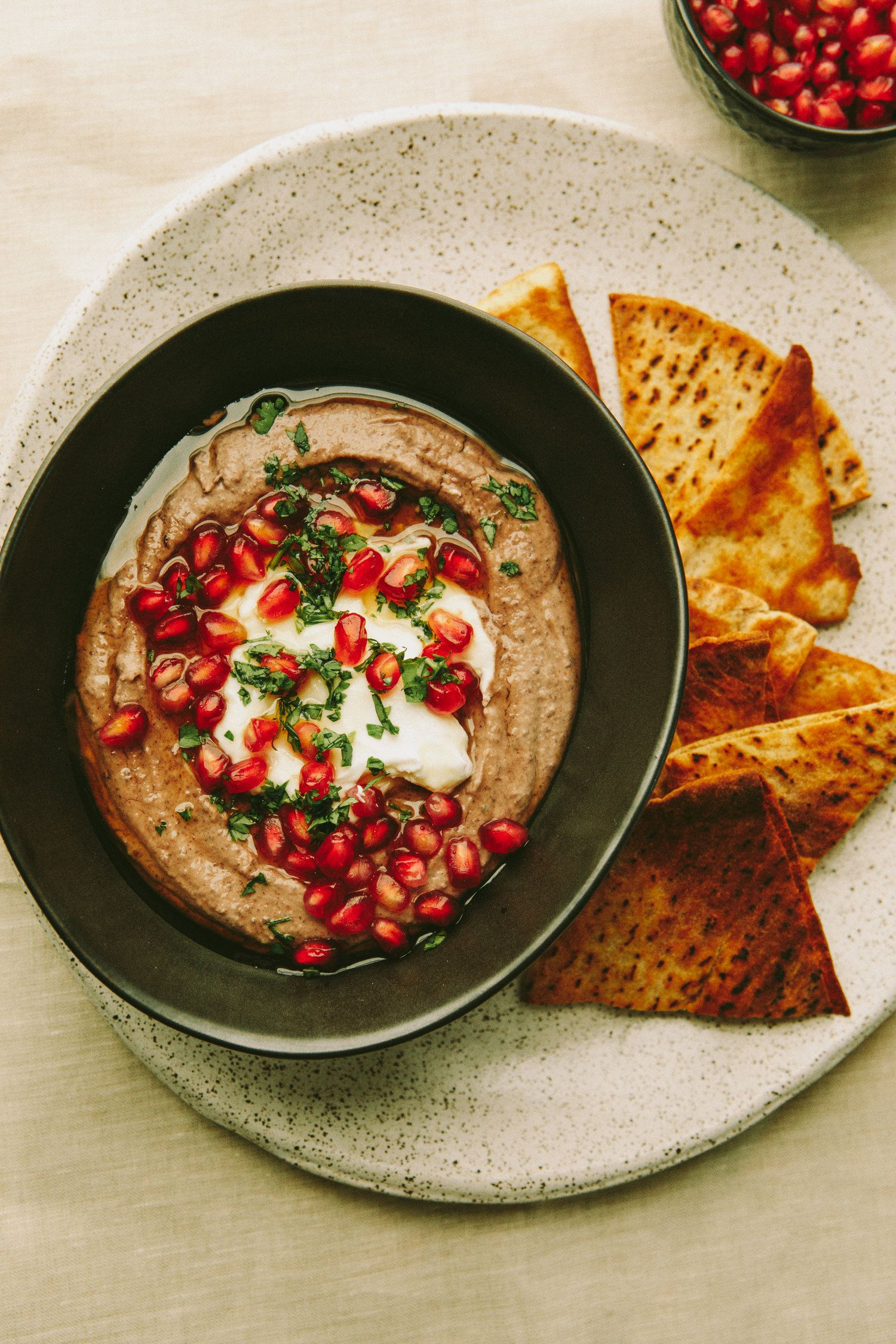 Sweetened Black Bean Dip with Yogurt and Pomegranate — A Thought For Food