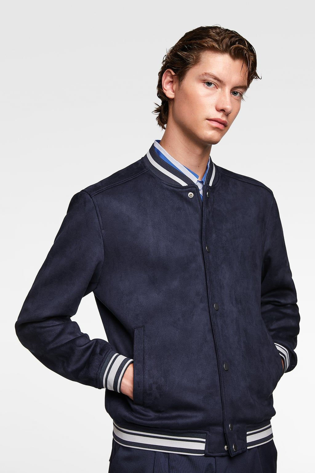 Faux Suede Varsity Bomber Jacket Available In More Colours Zara Man Jacket Mens Jackets Bomber Jacket Outfit