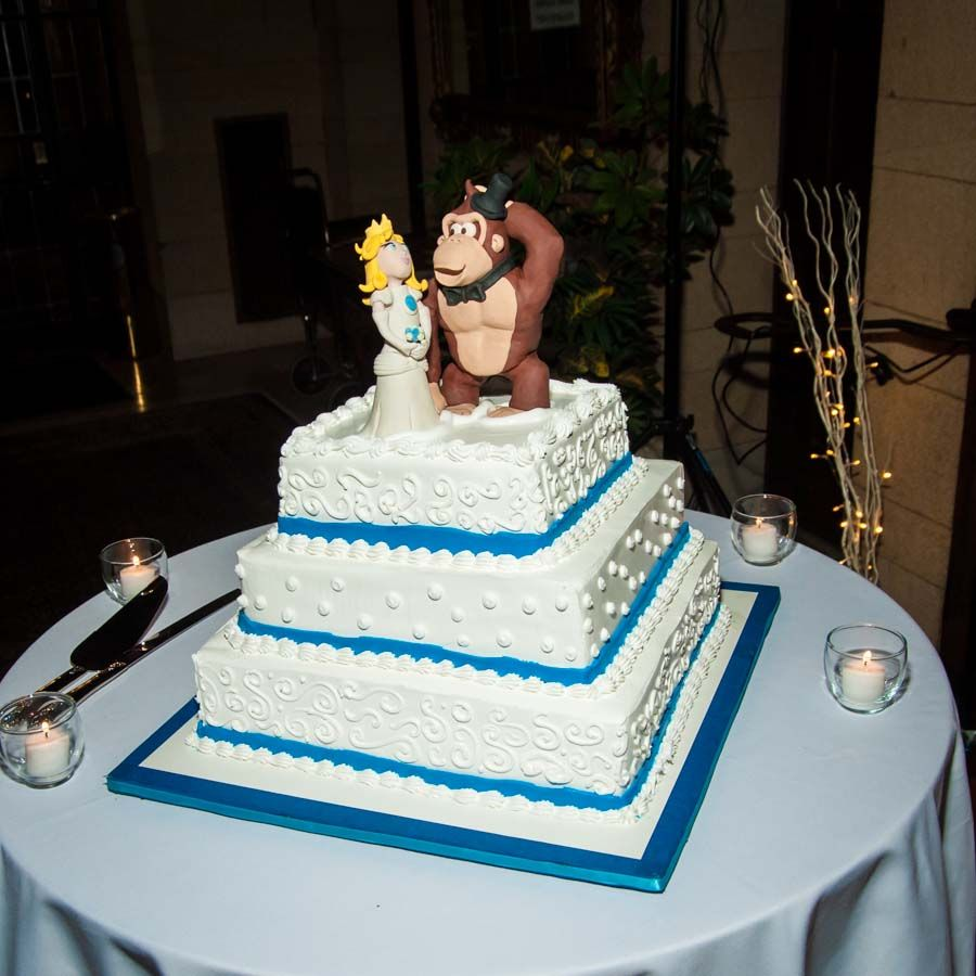 Ice cream wedding cake with Princess Peach and Donkey Kong custom