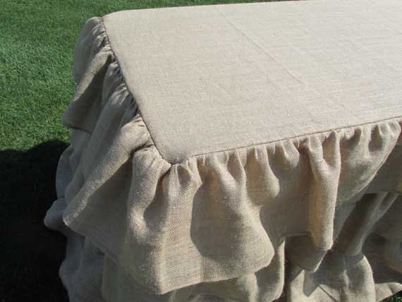 Ruffled Burlap Tablecloth   Wedding Tablecloth Rustic Tablecloth Shabby  Chic Babyshower Decor Party Decor Vintage Tablecloth Hessian Decor