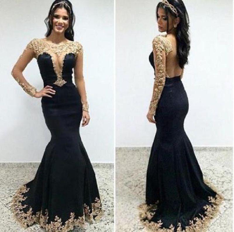Gold Lace Appliqued Sheer Long Sleeve Black Fitted Mermaid Prom Dress e532eba5c33e