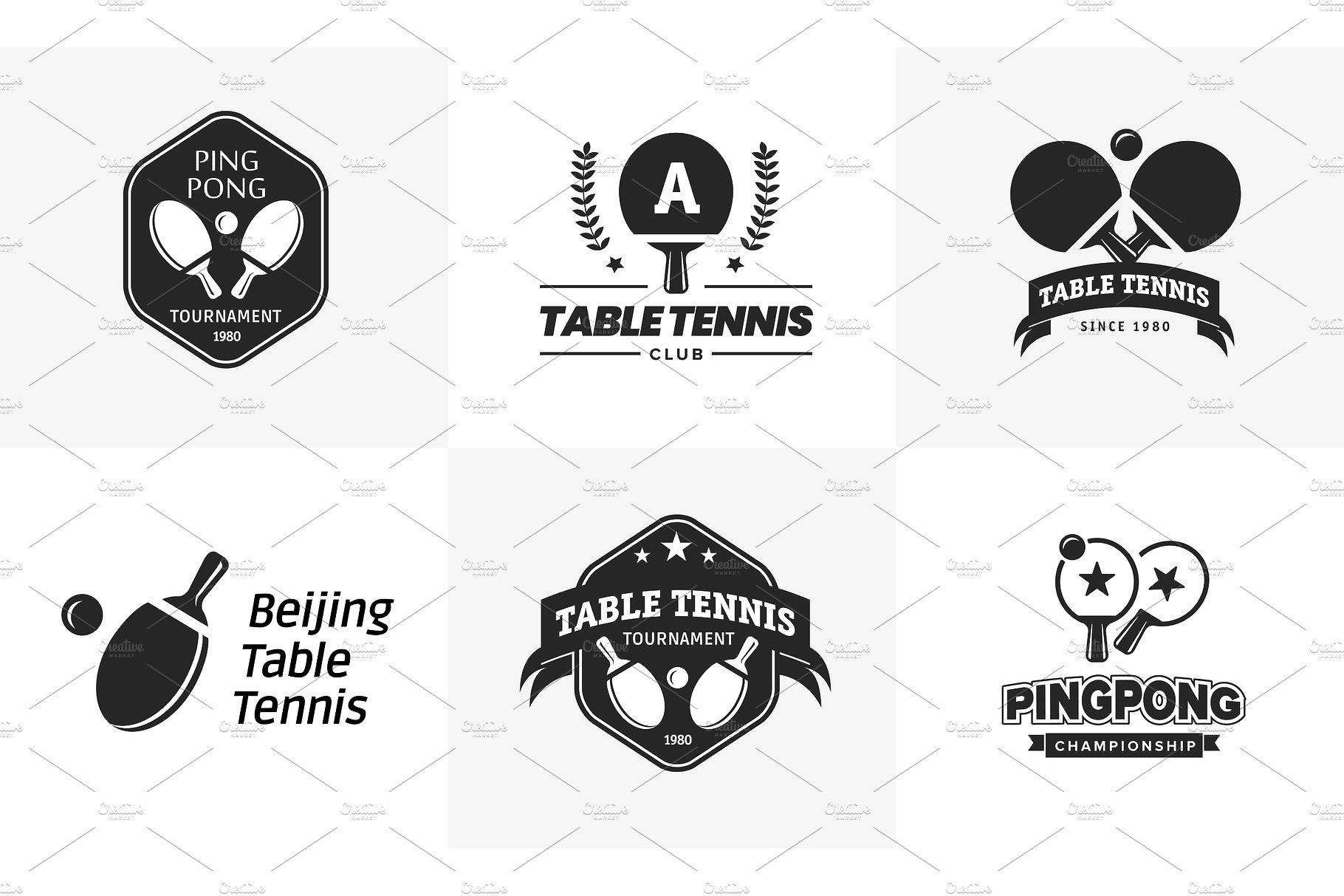 Set Of Vintage Table Tennis Logos And Badges Collection Of The Ping Pong Championship Labels Table Tennis Vintage Table Ping Pong