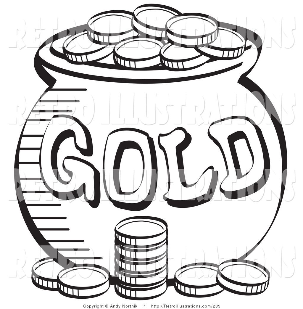 Black and White Coloring Page of a Stack of Coins near a Pot of