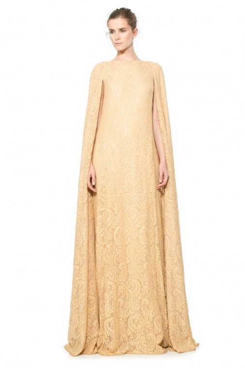 2dcf77c54f0 Corded Lace Floor Length Cape Gown