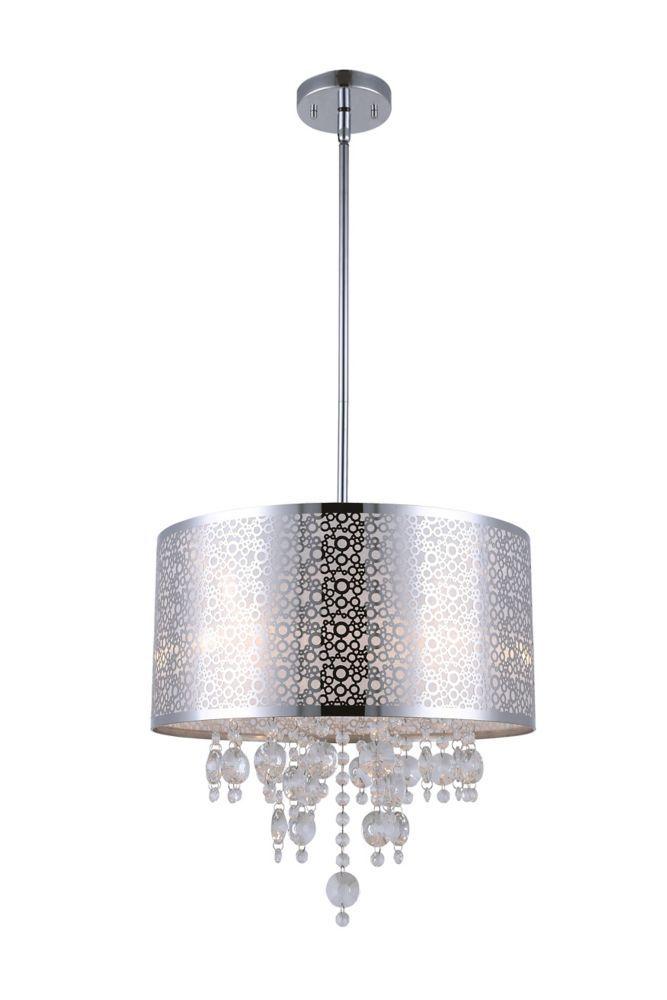 Canarm Ltd Piera 4 Light Chrome Chandelier With Crystal