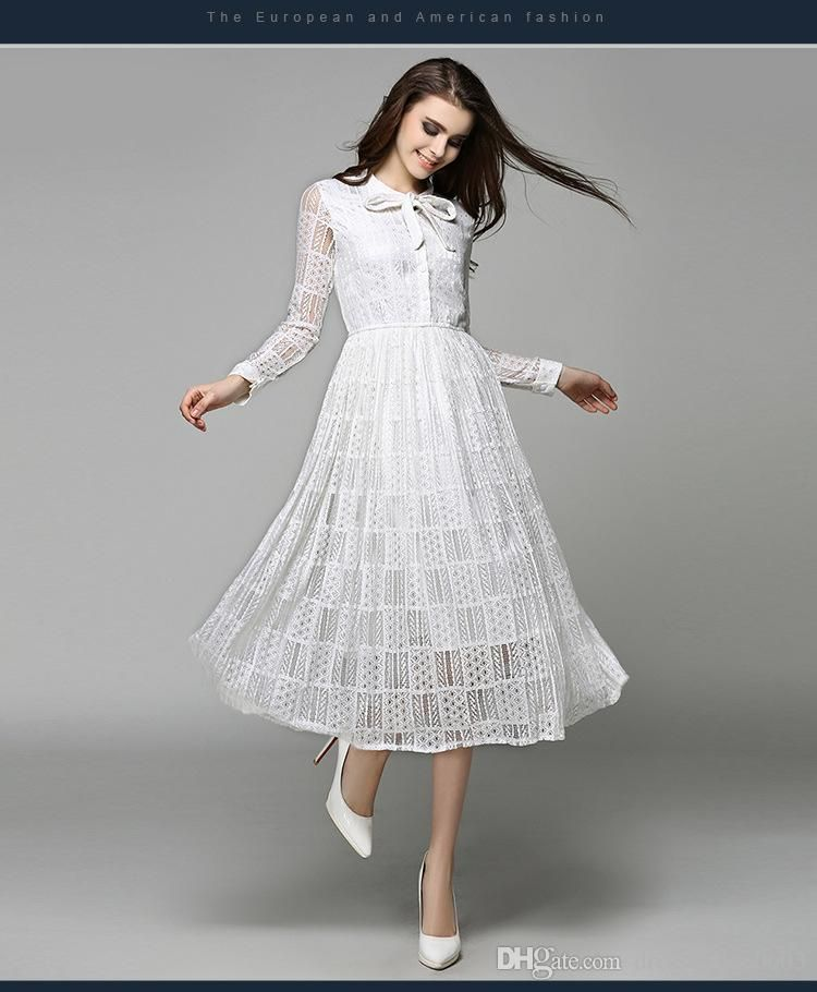 Charming White Dress 2017 Spring Pretty Lace Long Sleeves Prom ...