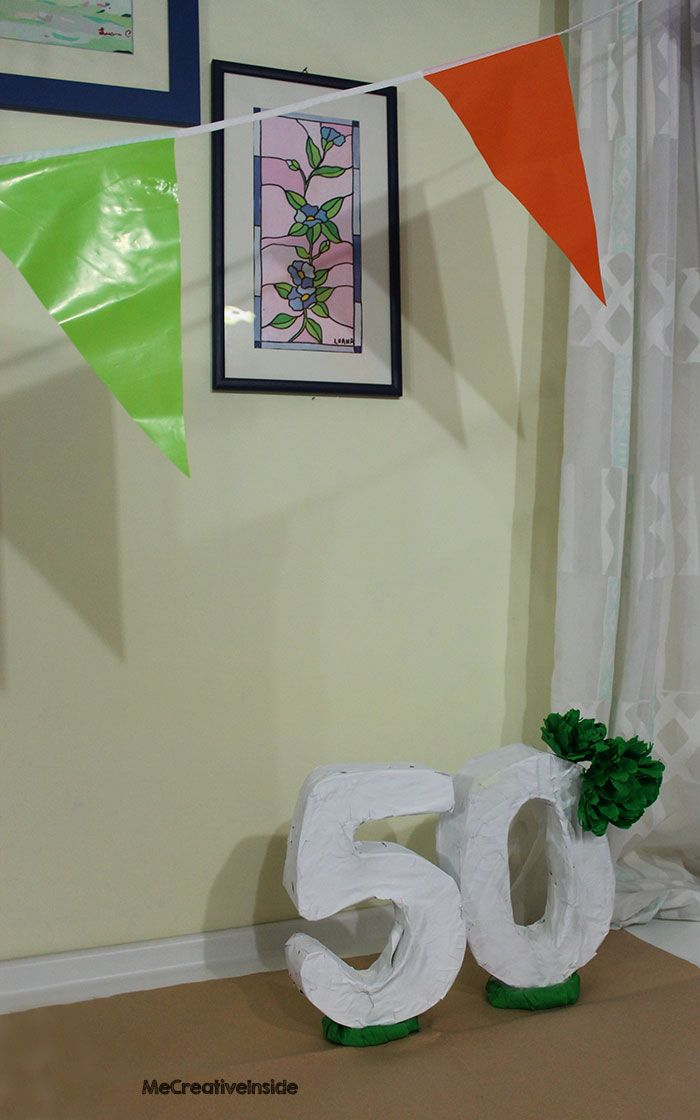 tutorial diy numeri tridimensionali per un party flag compleanno 50 anni ME creativeinside