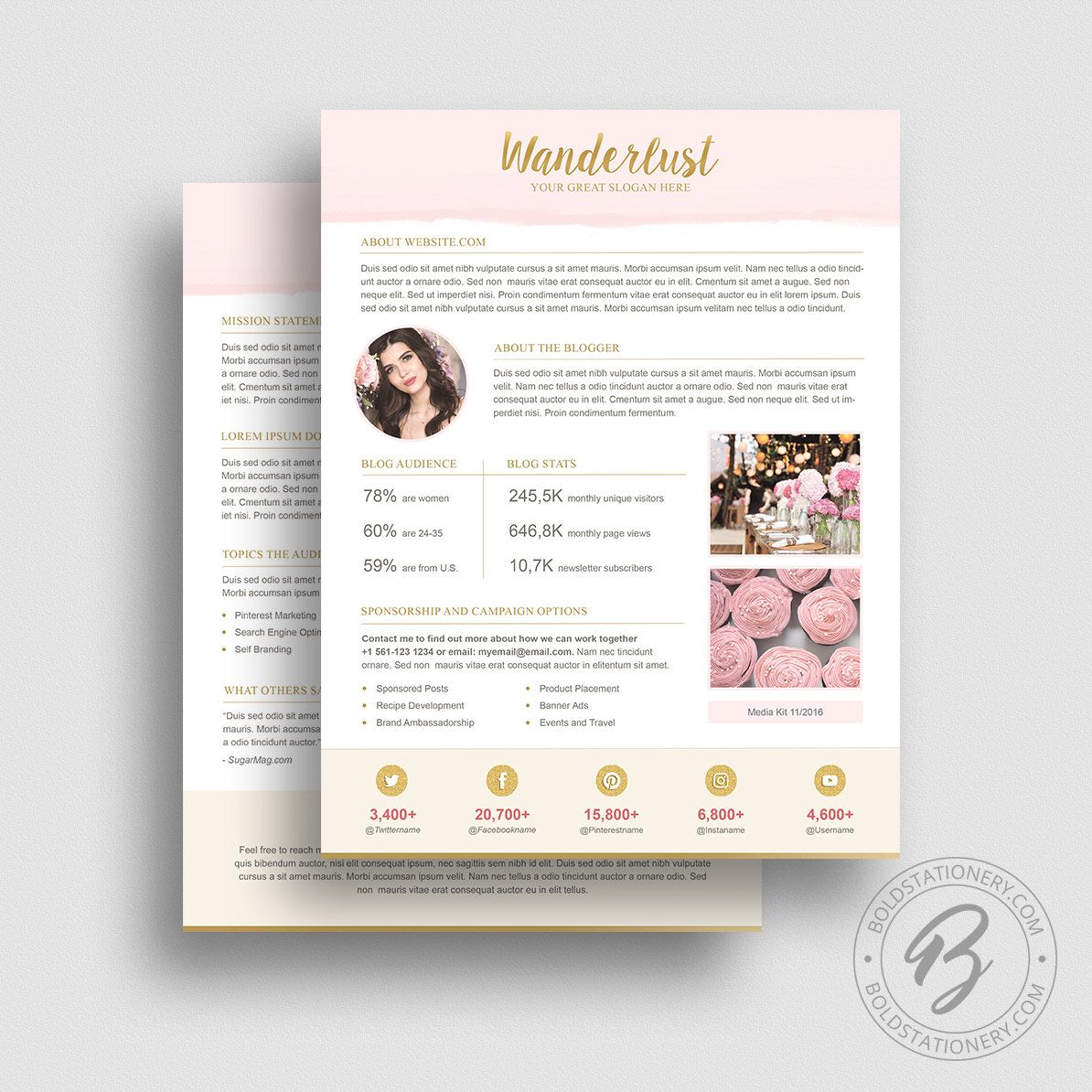 Media Kit Template   Ad Rate Sheet Template  Press Kit
