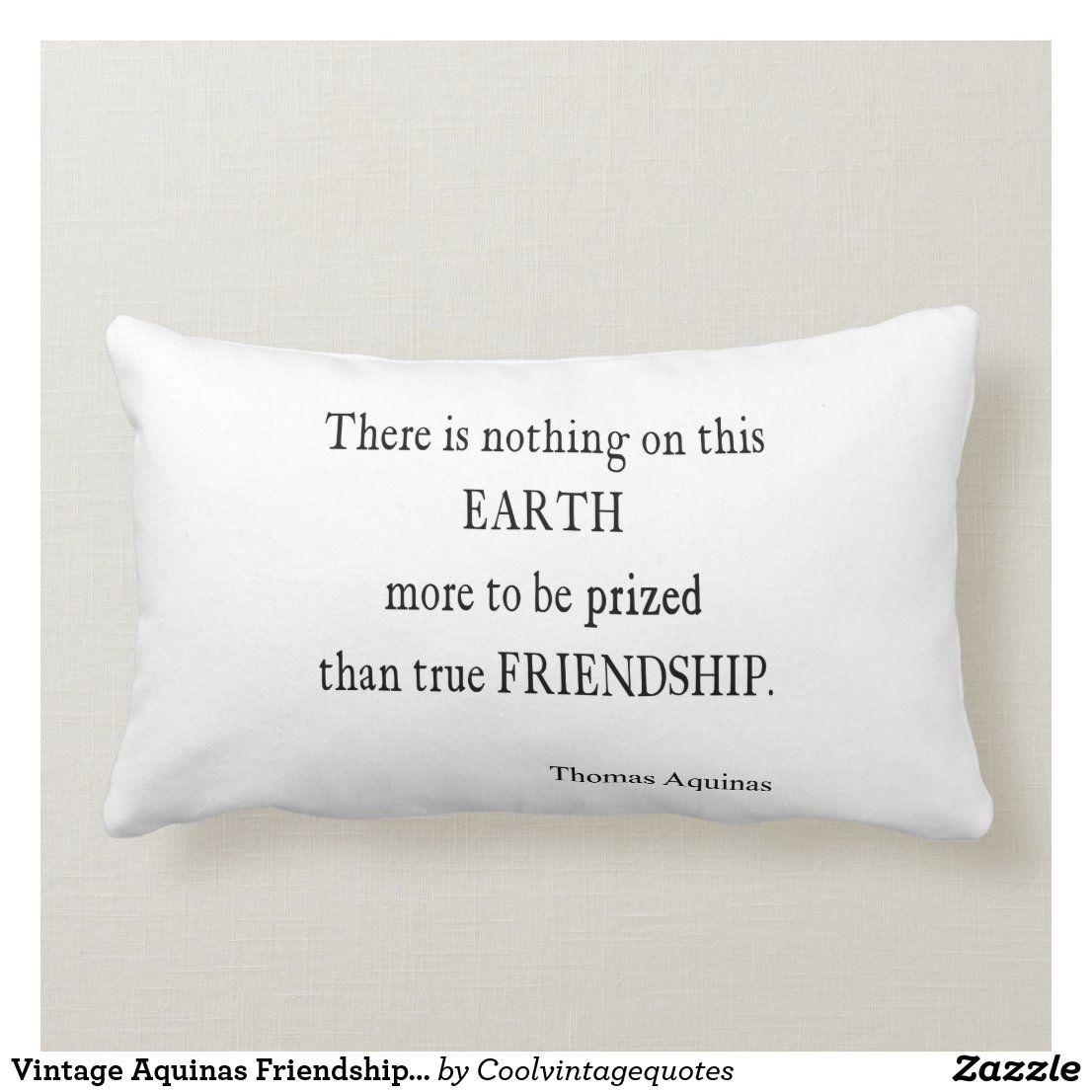 Vintage Aquinas Friendship Inspirational Quote Lumbar Pillow