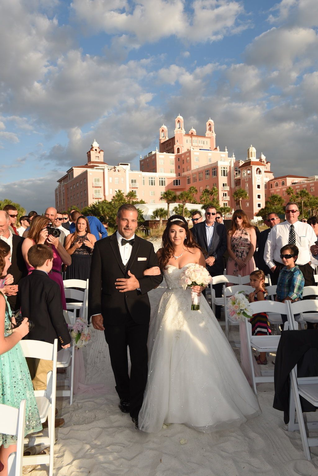 Real Weddings From St Pete Beach Hotel The Don Cesar And Hilton Clearwater Outdoor Wedding Ceremony Inspiration With Elegant Pink Gold Theme