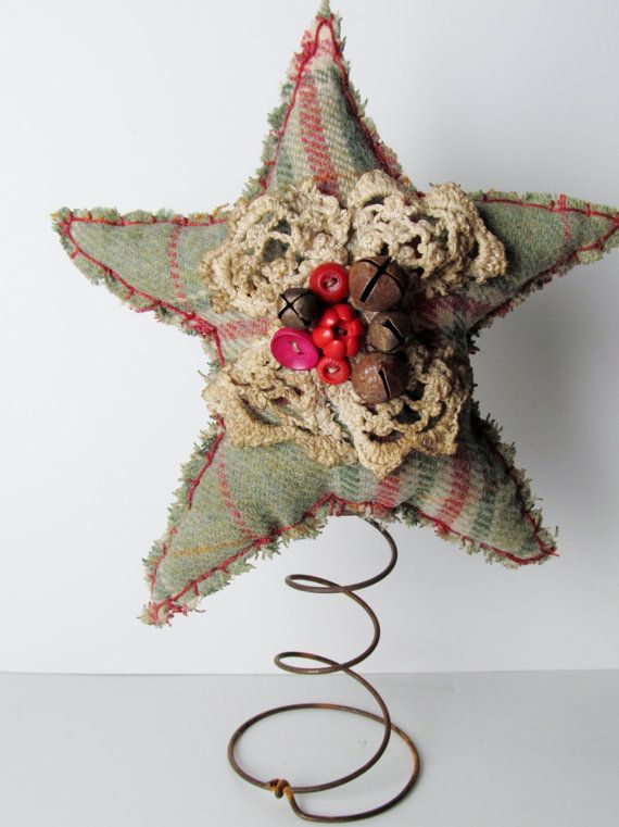 primitive red green flannel Christmas Star tree topper/nodder~bells,  crochet lace old buttons at the center. - Primitive Red Green Flannel Christmas Star Tree Topper/nodder~bells