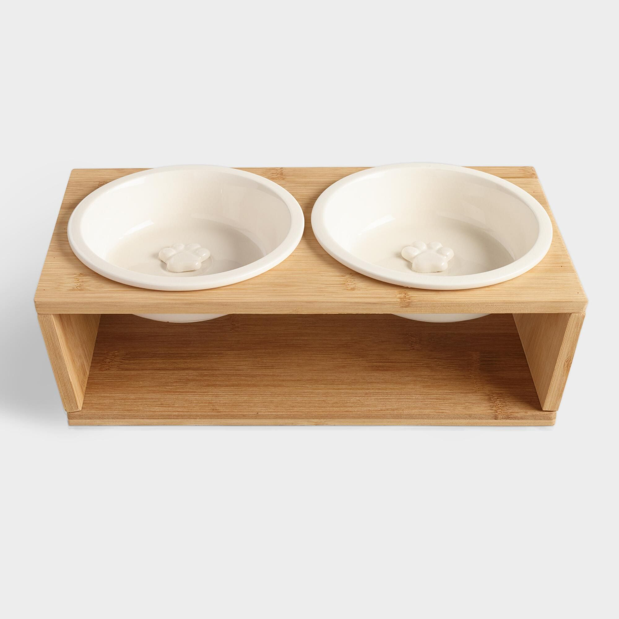 White Dog Bowls With Stand 3 Piece Set By World Market Products