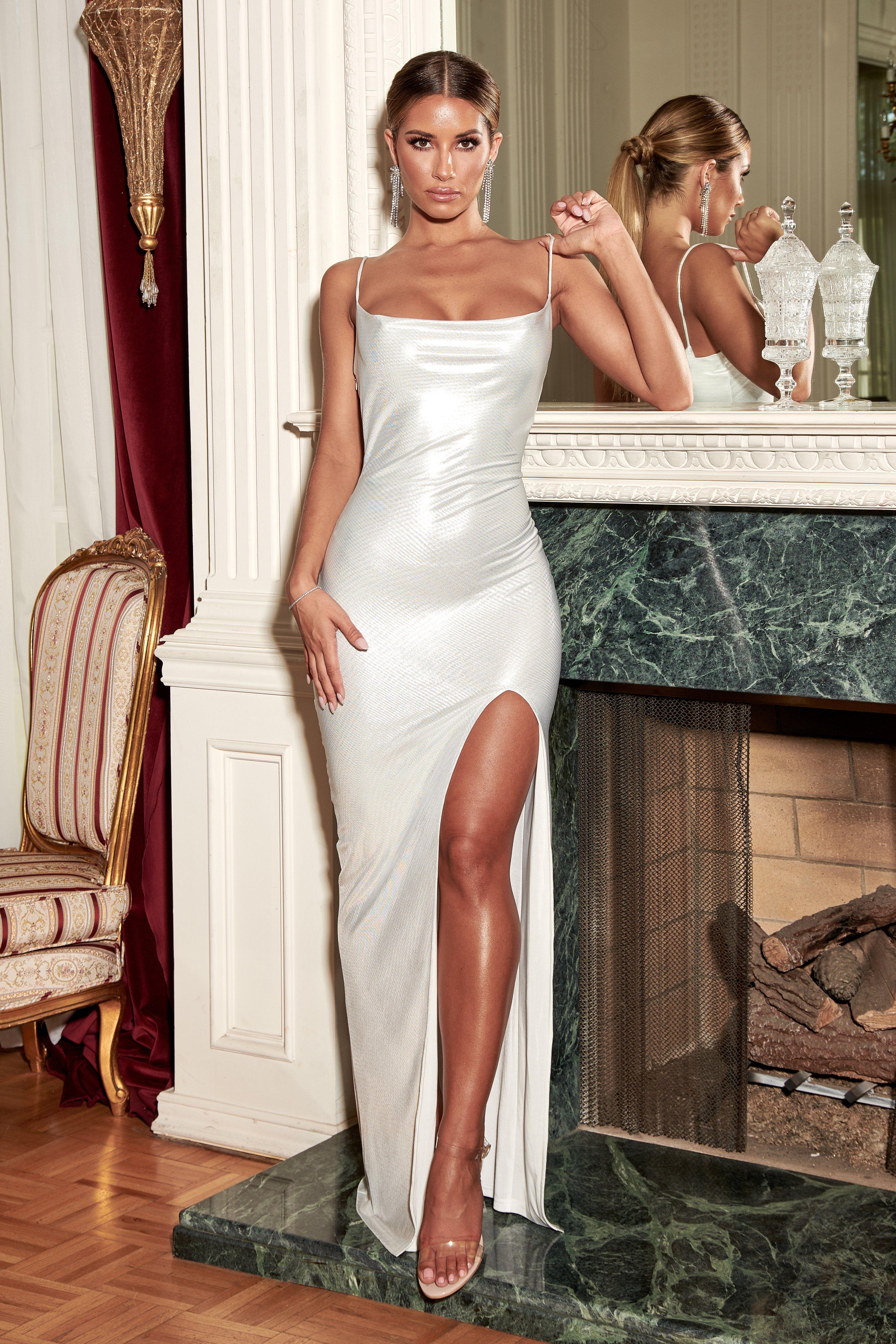 Sparkly Rose Gold Sequin Cowl Back Long Prom Dress - Promfy