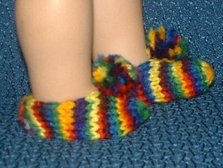 Free Knitting Patterns For Slippers On Pinterest : American girl doll slippers socks free knit pattern Doll Knit and Crochet ...