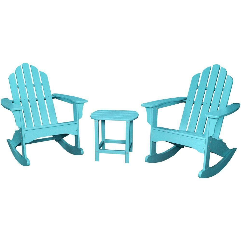 Astounding Hanover Aruba Blue All Weather 3 Piece Patio Rocking Pdpeps Interior Chair Design Pdpepsorg