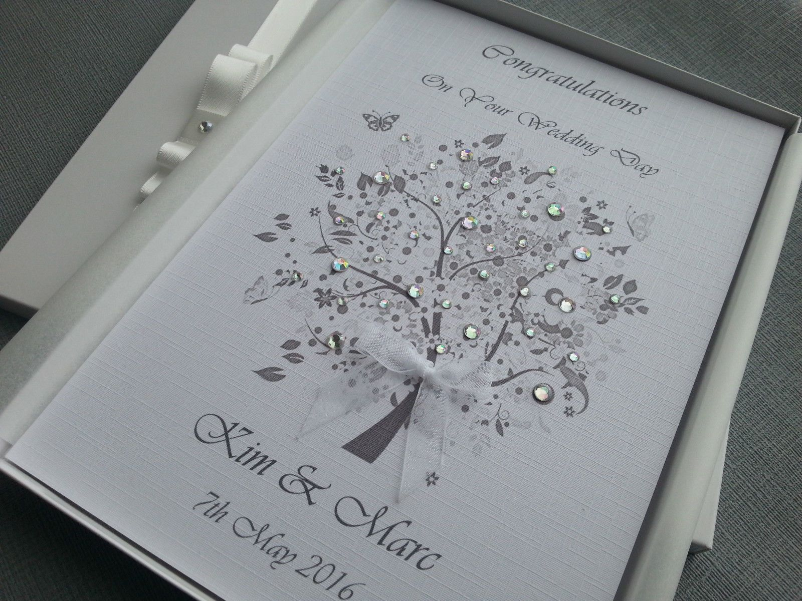 Wedding Day Anniversary Congratulations Card Handmade Personalised