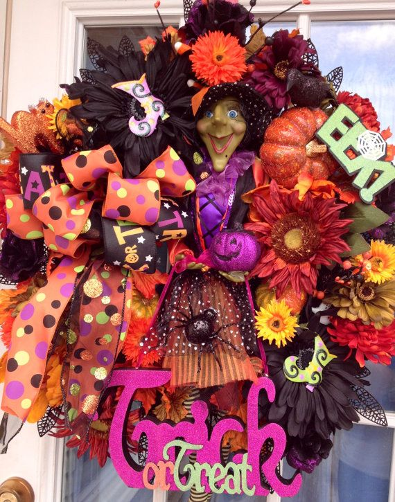 Green Face Witch Halloween Fall Wreath Decoration Craft ideas - luxury halloween decorations