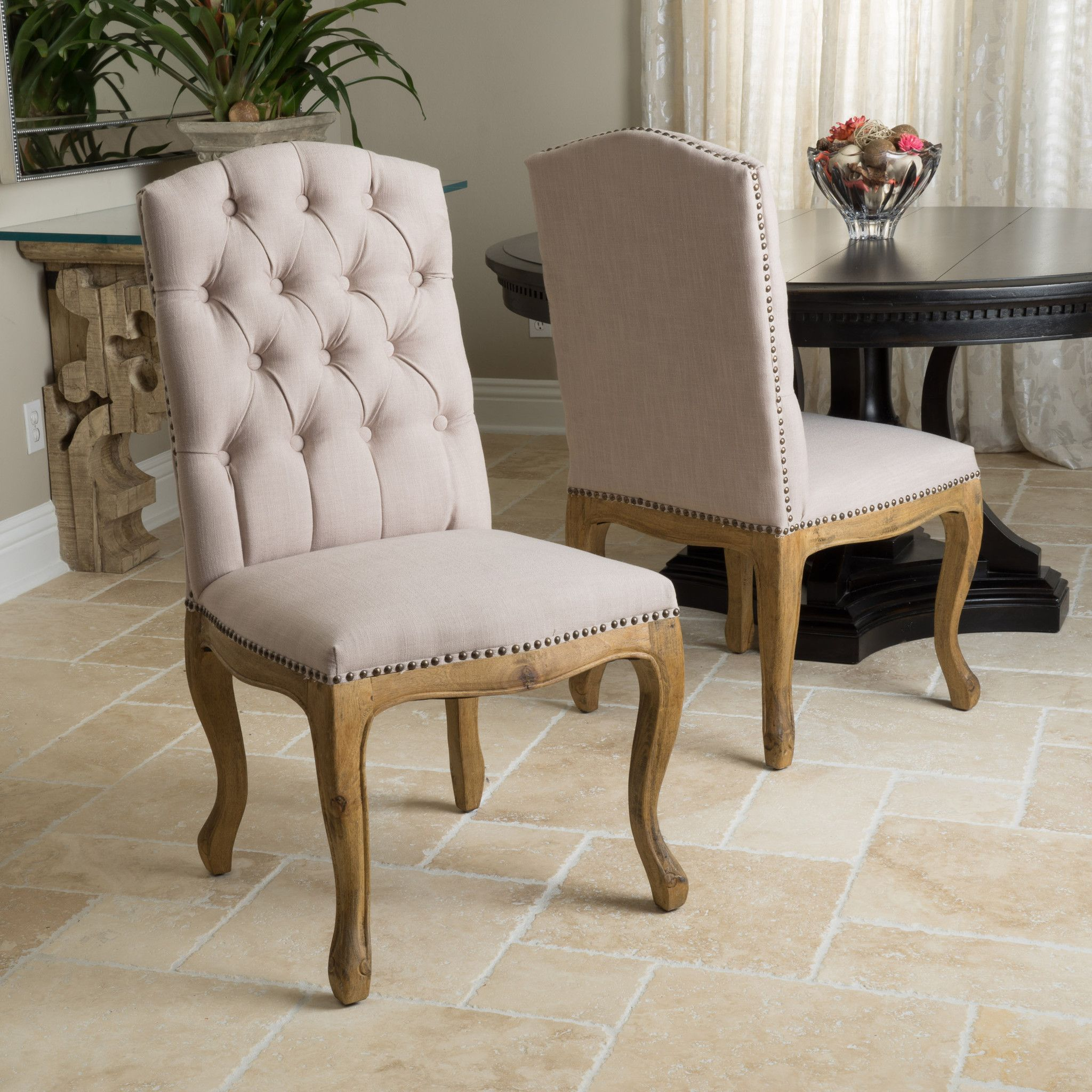 Jolie Tan Linen Weathered Dining Chair Set Set Of 2  Products Interesting Material To Cover Dining Room Chairs Design Inspiration