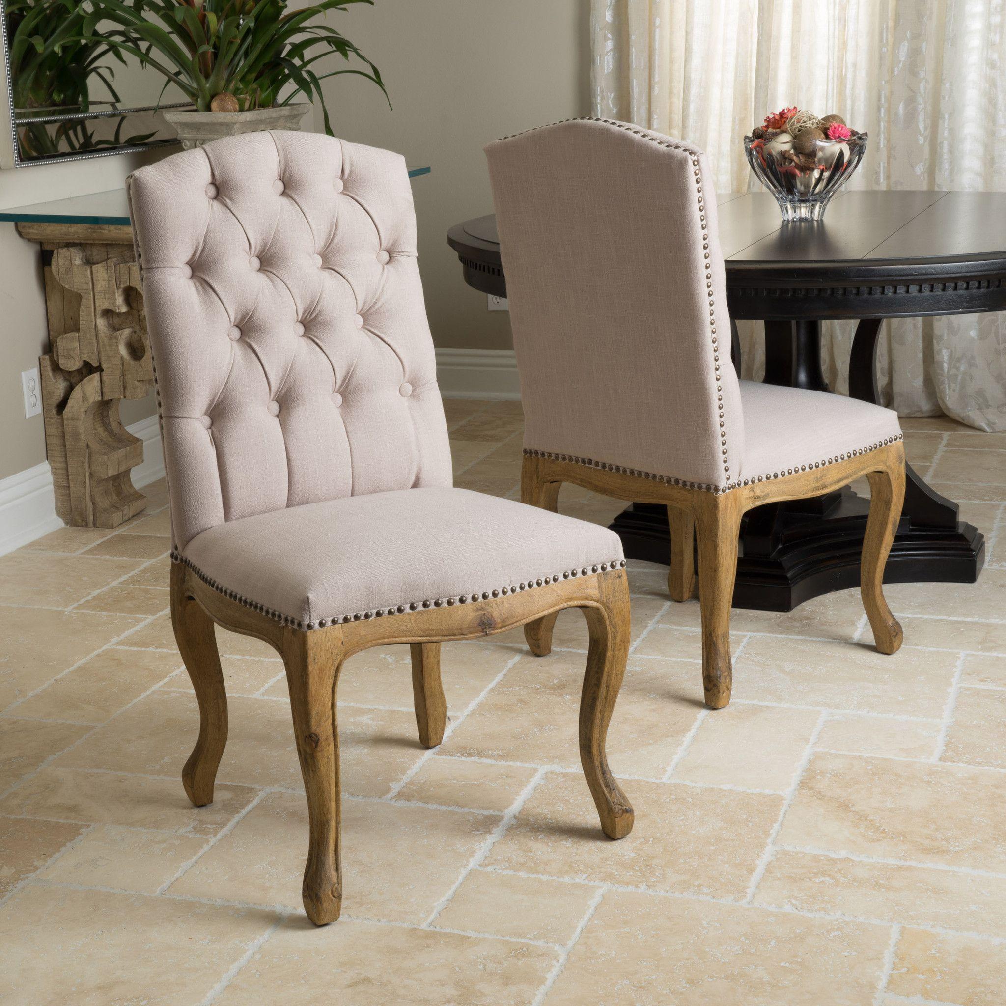 Jolie Tan Linen Weathered Dining Chair Set Set of 2