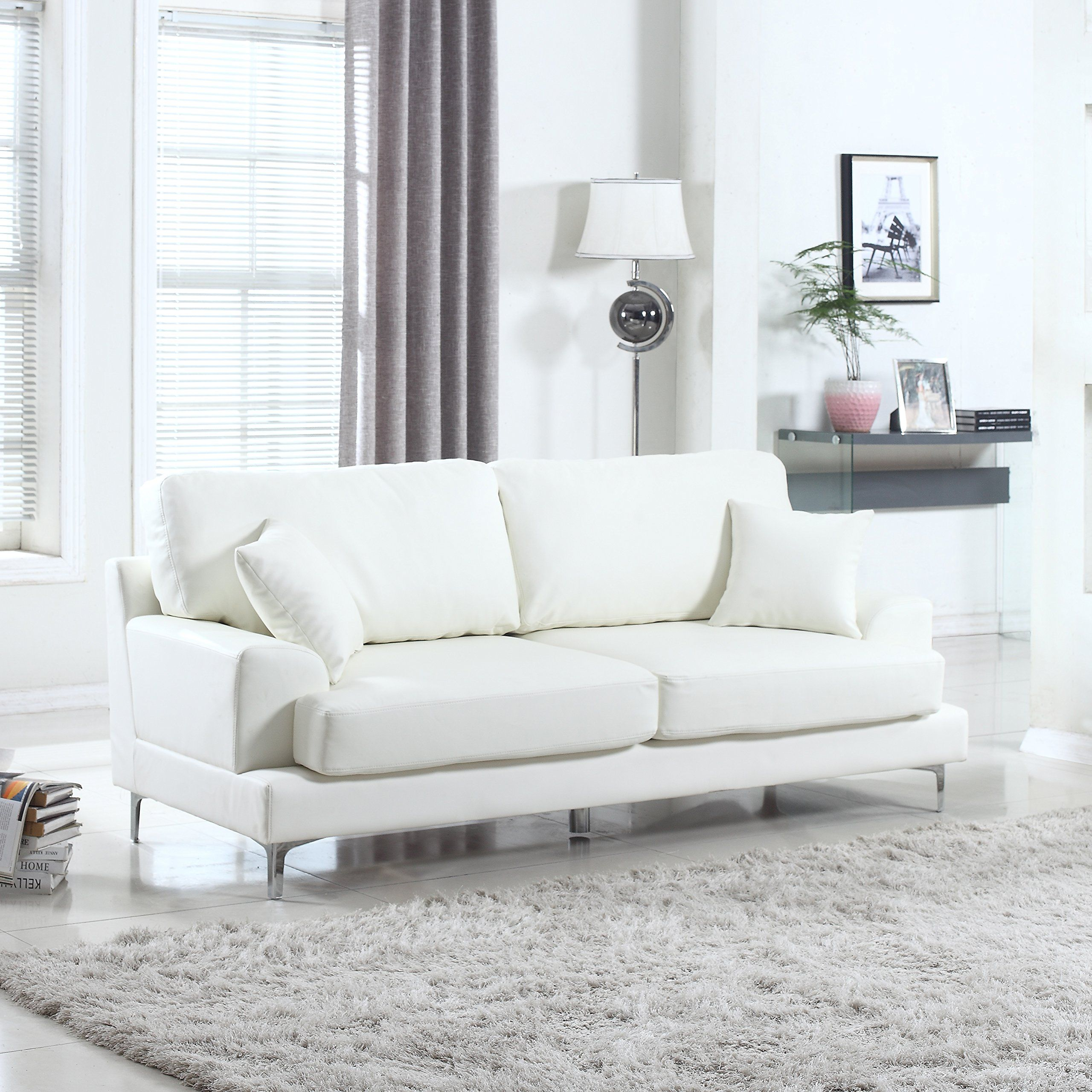 Madison Home Ultra Modern Plush Bonded Leather Living Room Sofa with ...
