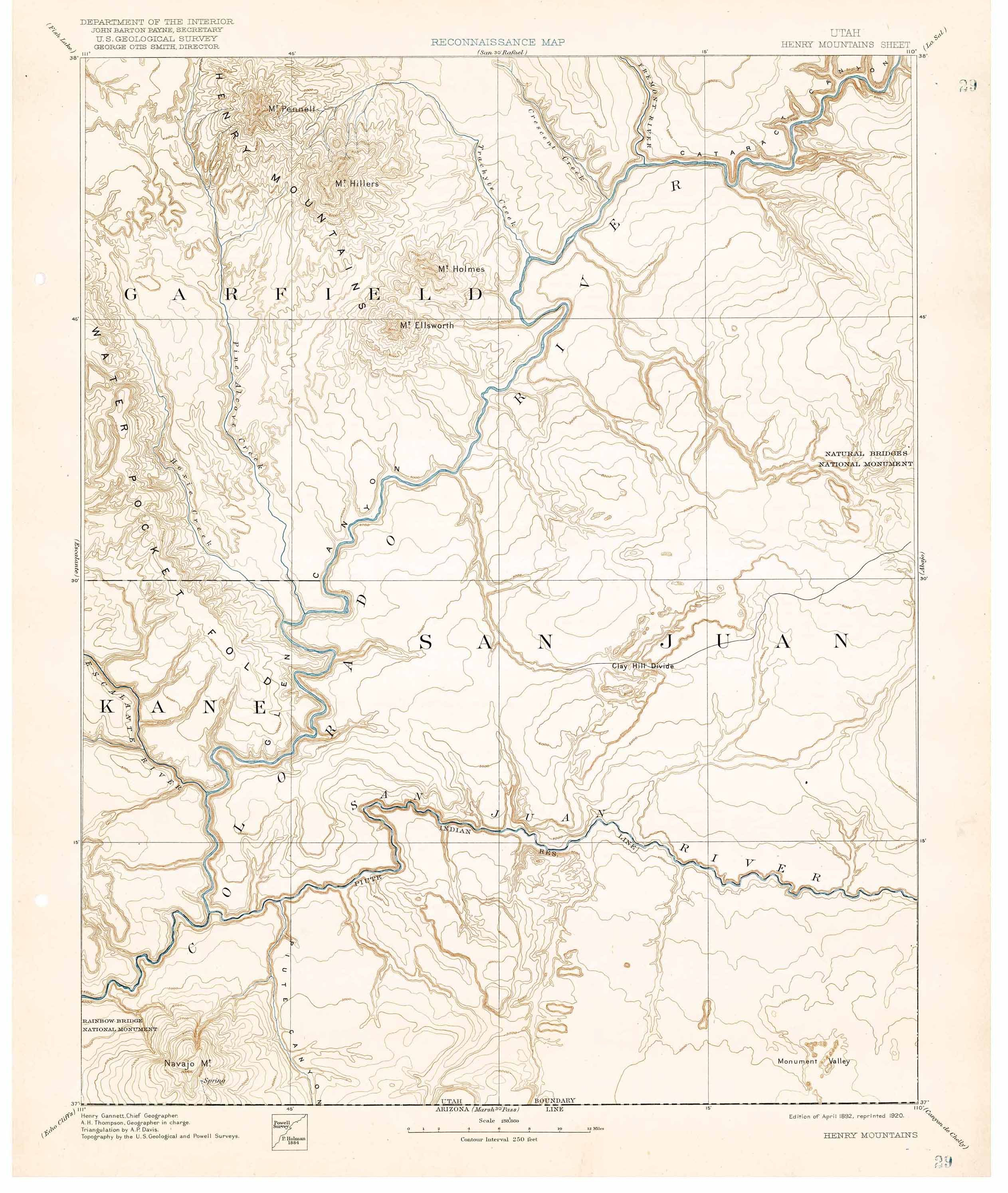 Collection C 007: USGS topographic map of Henry Mountains, Utah, at ...