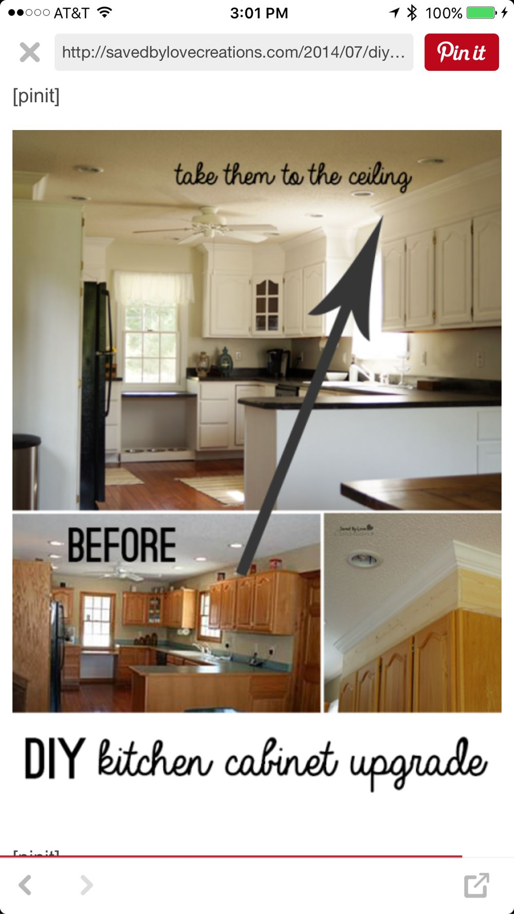 DIY Kitchen Cabinet Upgrade With Paint and Crown Molding | Saved By ...