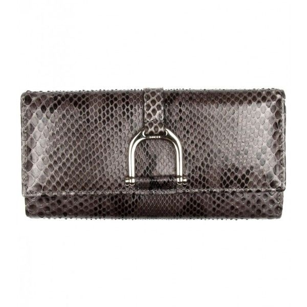 Gucci Grey & Brown Python Wallet ($830) ❤ liked on Polyvore featuring bags, wallets, zip wallet, coin pouch, gucci bags, zip coin purse and zipper wallet