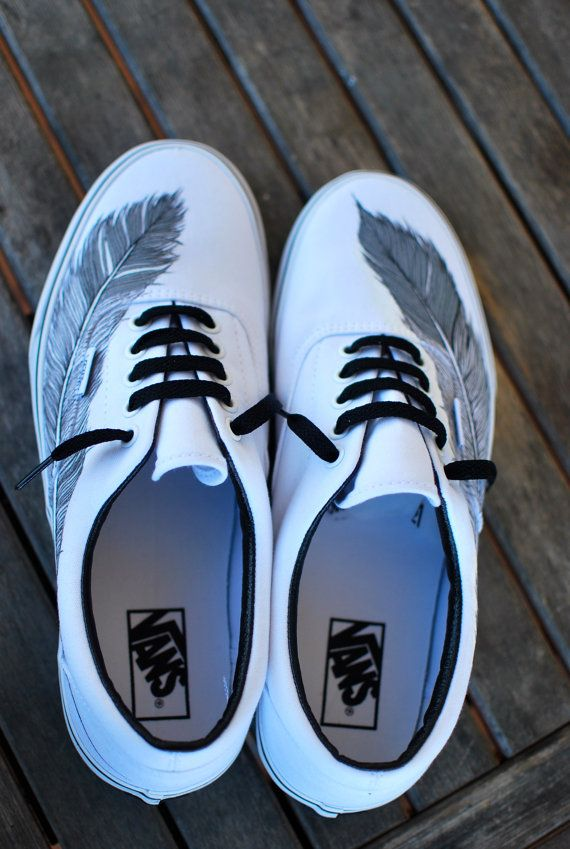 f9c5feab8a45 Hand Painted Native Eagle Feather on White Vans por BStreetShoes ...