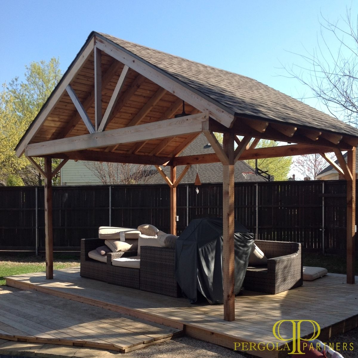 Patio Covers Fort Worth Tx: Freestanding Patio Cover For Outdoor Grilling. Designed