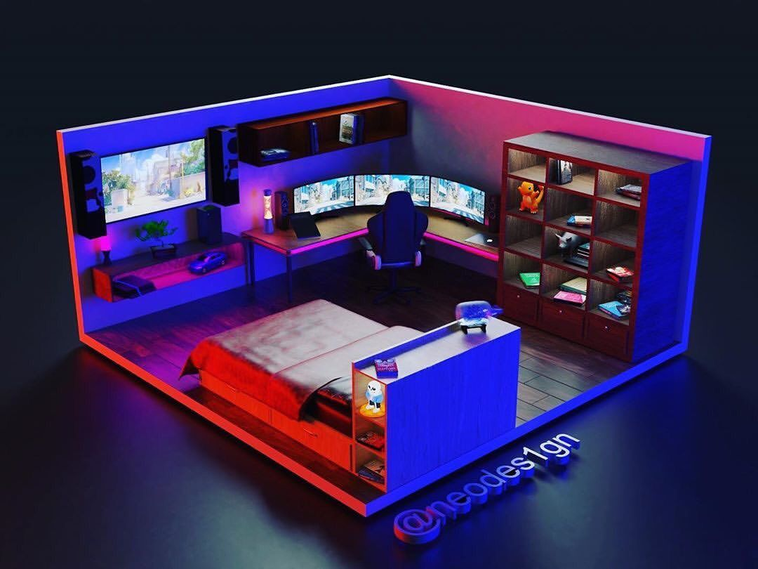 Rate This 3d Gaming Room Design From 1 10 Modelled By 3dgamingsetups 3d Gaming Setups Media Pho Game Room Design Video Game Rooms Small Game Rooms