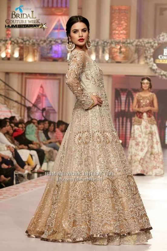 Beige Designer Bridal Gown With Royal And Trendy Looks LooksGud