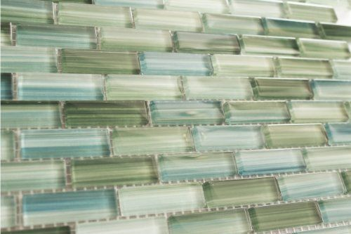 Sample Of Tidal Blue And Green Hand Painted Gl Mosaic Subway Tile For Kitchen Backsplash By Bodesi