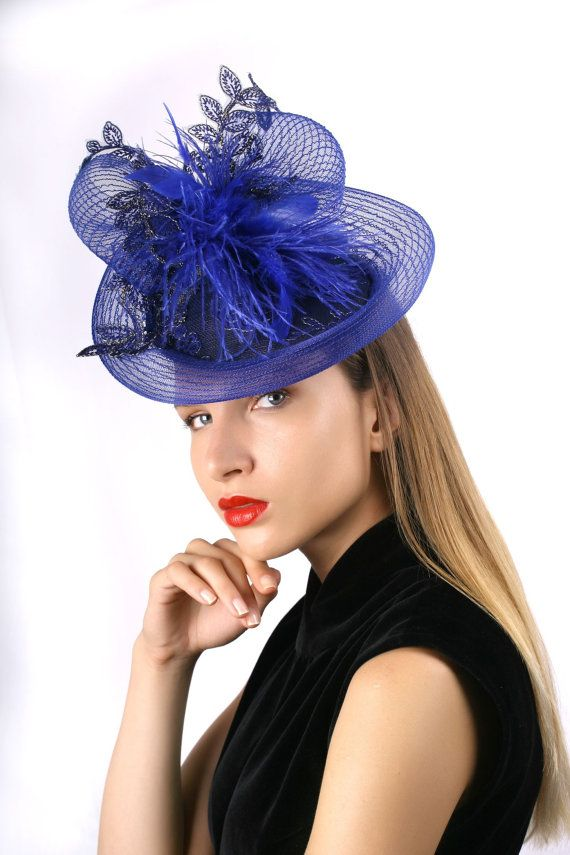 04db0a3b590 Astonishing Royal blue derby fascinator with royal blue and gold lace