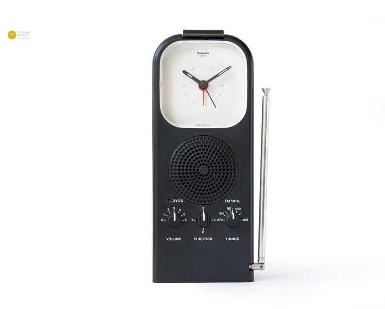 Style Icon Rowenta Radio Clock Desk Alarm Panton Space Age Modern Table Germany 80s 1980s Wecker Transistor Desk Clock Space Age Modern White Clocks