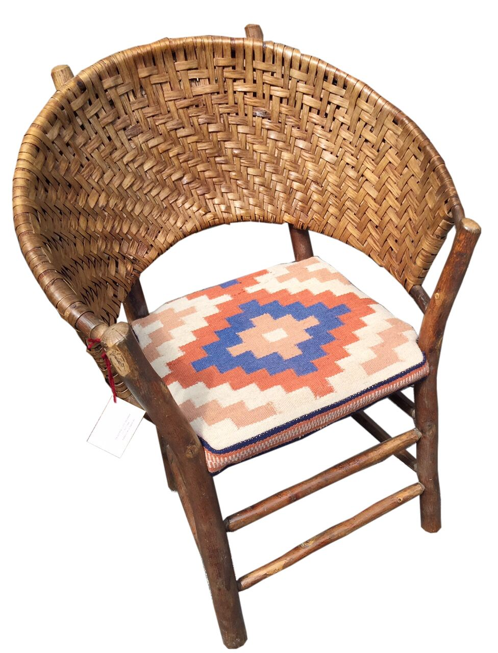 """Old Hickory """"Lotus"""" style bark woven chair with Navajho"""