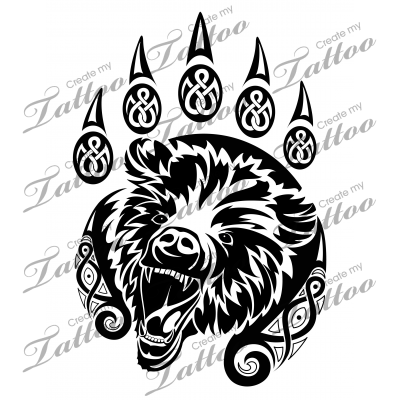 Marketplace Tattoo SBink Celtic Bear Paw #20508 | CreateMyTattoo.com