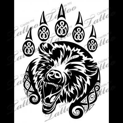 Marketplace Tattoo SBink Celtic Bear Paw #20508 | CreateMyTattoo.com