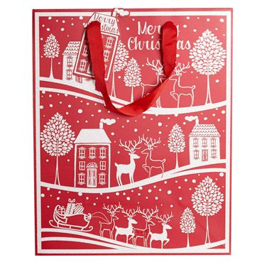 red Christmas Scene Large Bag