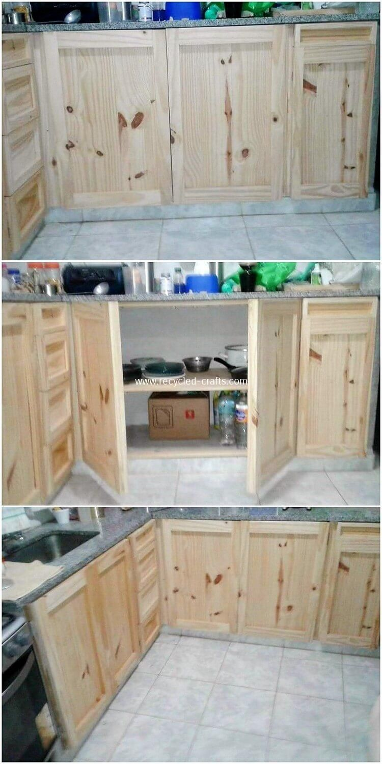 I Must Say This Is So Far The Best Kitchen Cabinets Design Of Wood Pallet We Have On Our Page So Elegant And So Classy Pallet Furniture Pallet Wooden Pallets