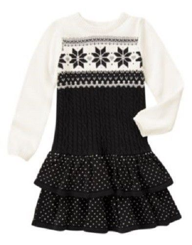 NWT Gymboree Joyful Holiday 3 Black White Snowflake Fair Isle ...