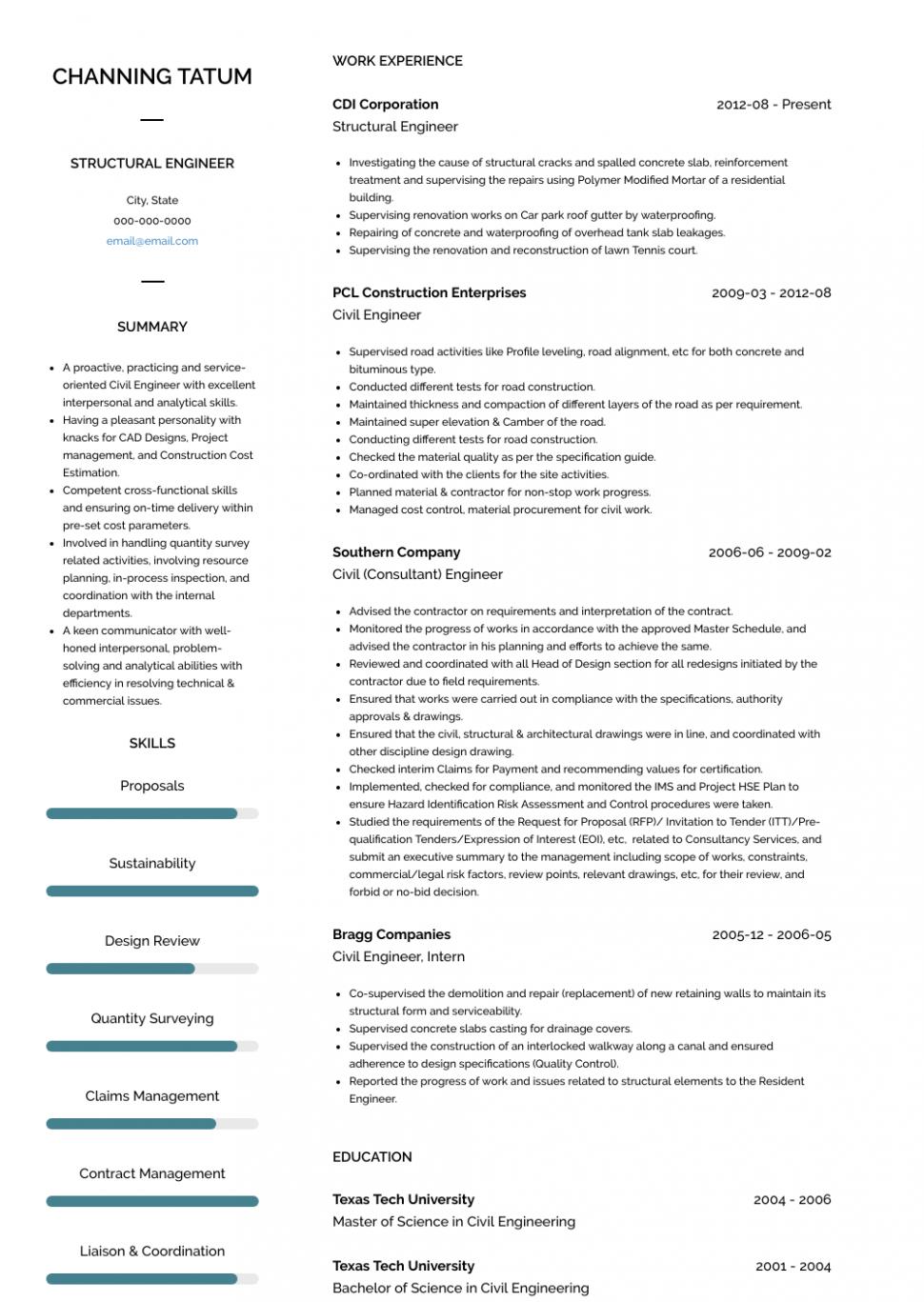 15 Structural Engineer Tasks Resume