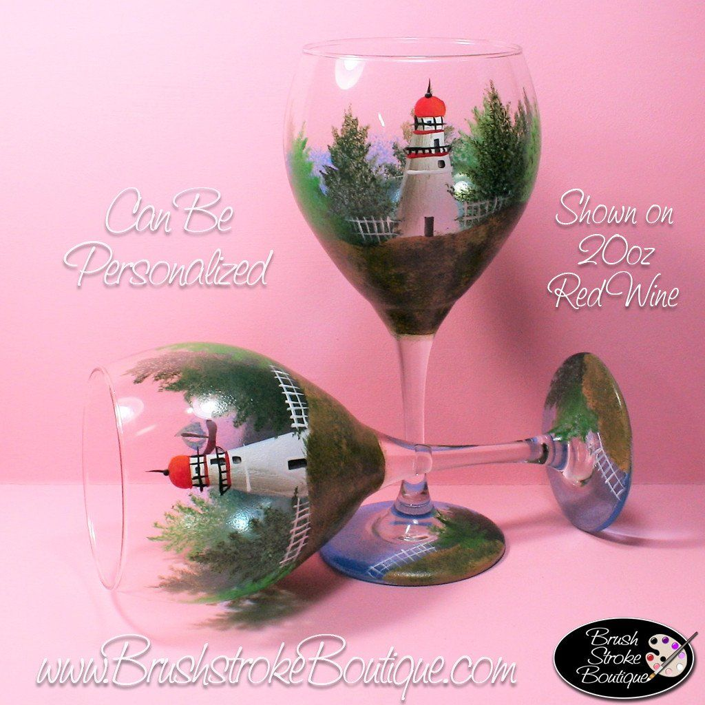 Hand Painted Wine Glass - Marblehead Lighthouse - Original Designs ...