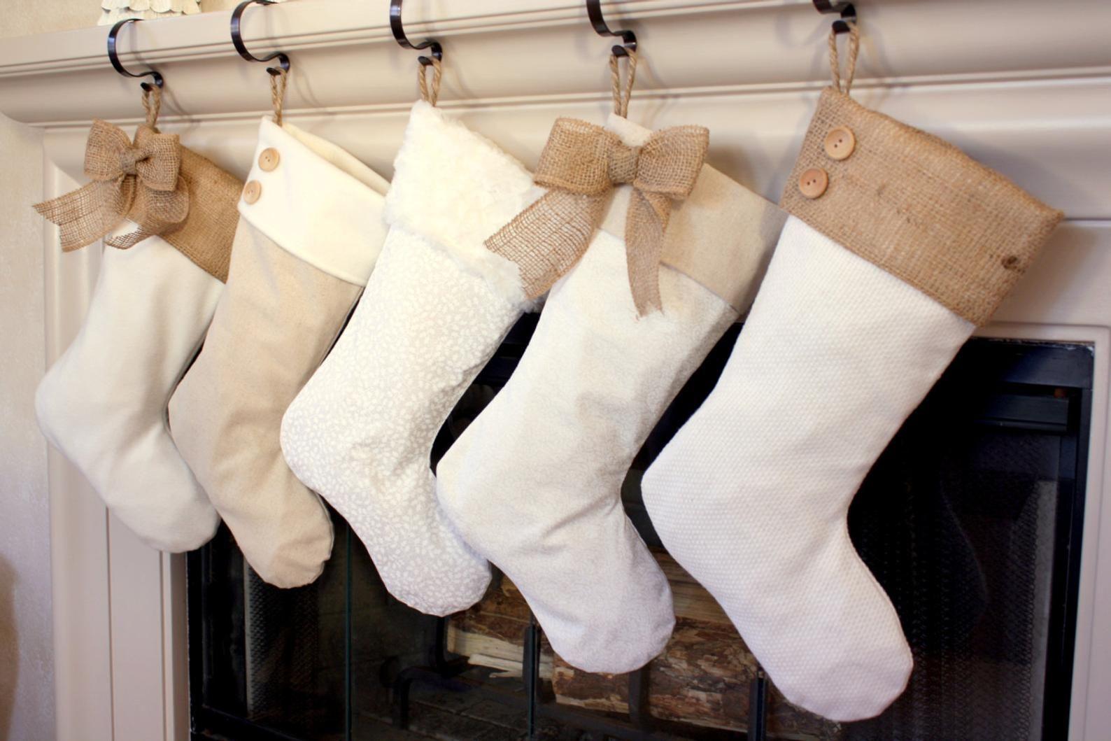 Christmas Burlap Stockings CHOOSE TWO 2 The Classic Cream Line-  Burlap Stockings