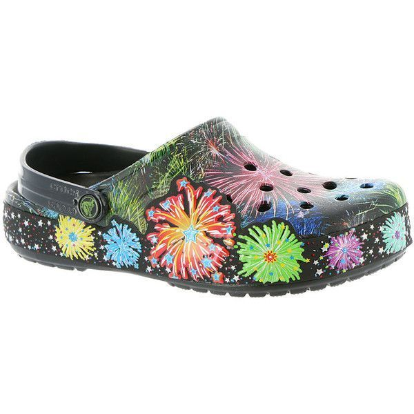 Crocs Crocband Fireworks Clog Women's Black Slip On 10 M ($50) ❤ liked on  Polyvore featuring shoes, clogs, black, croc footwear, black clogs, slip-on  shoes ...