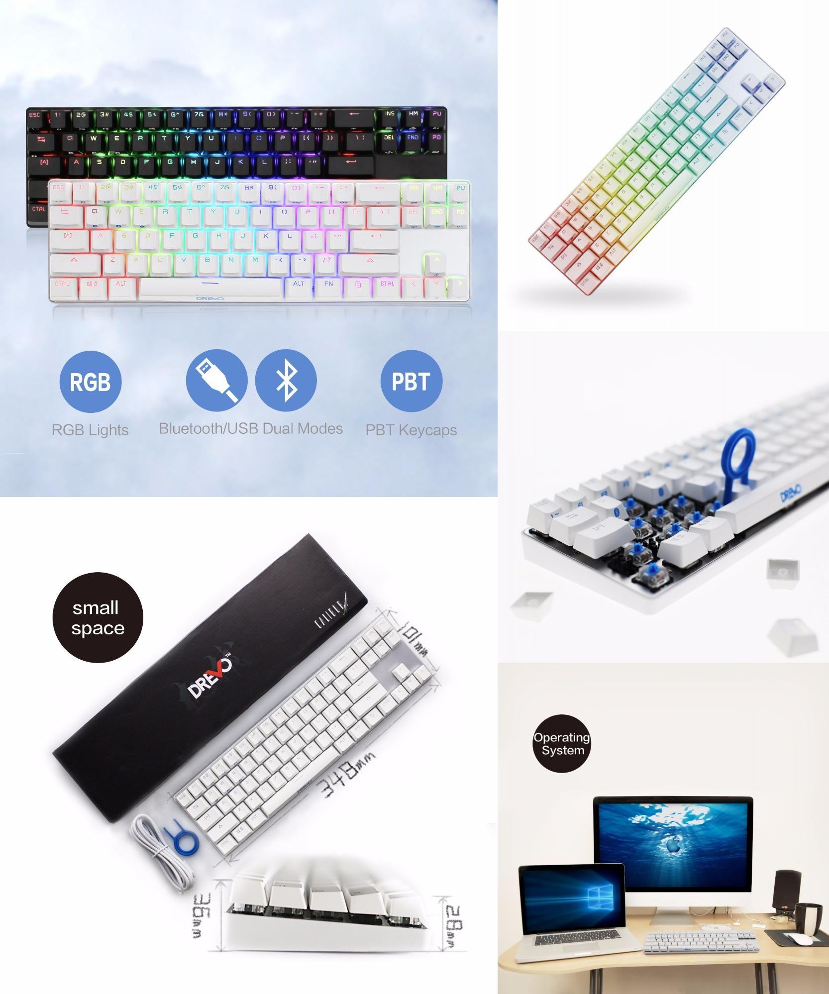 77241af3637 [Visit to Buy] Drevo Calibur 71-Key RGB LED Backlit Wireless Bluetooth 4.0  Mechanical Keyboard Blue Switch Sliver White #Advertisement