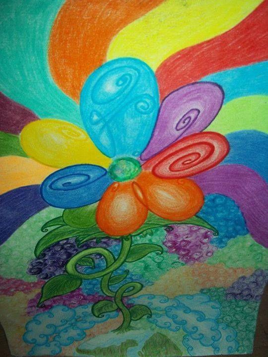 - mientras las flores cantan y John las escucha...  Lapices de colores
