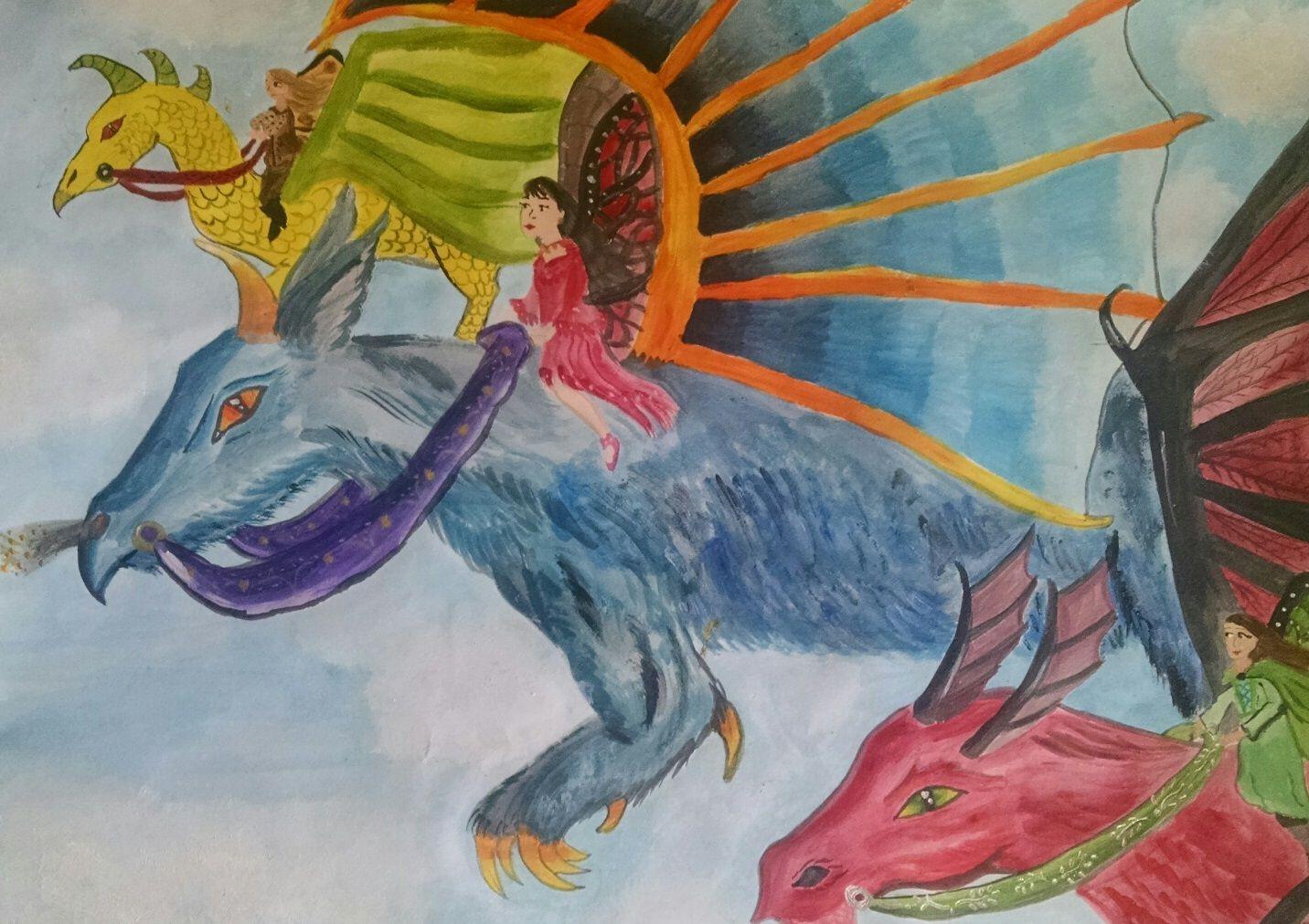 """Happy Dappy Dragon Friends"" by Sarah. Texas Renaissance Festival School Days Student Art Competition- Jr. High, 2014"