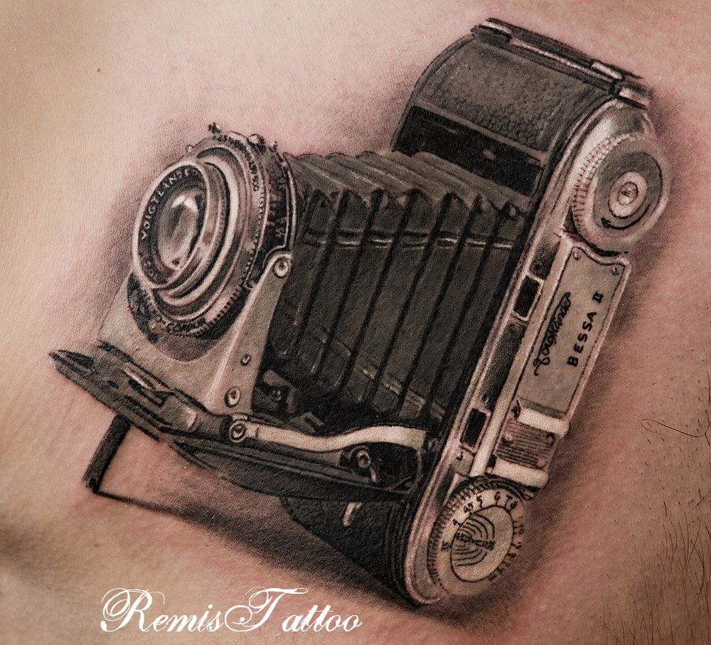 80 Camera Tattoo Designs For Men: Classic Vintage Camera Tattoos, Black And Grey Tattoo By