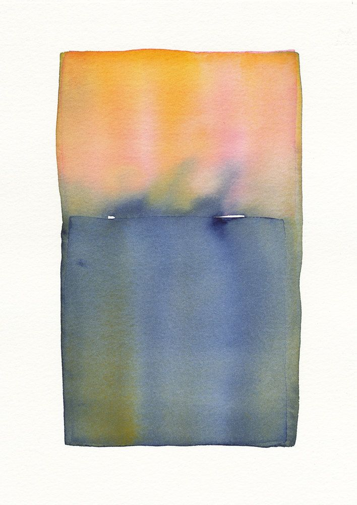 Pinks to blue grey fade original abstract watercolor from Malissa ...